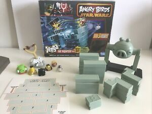 Hasbro Angry Birds Star Wars Jenga Tie Fighter Millennium Falcon Launch Complete