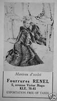 PUBLICITÉ 1958 FOURRURES RENEL MANTEAU D'OCELOT - ADVERTISING