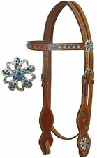 BLING! BLUE RHINESTONES & CRYSTALS WESTERN HORSE BRIDLE WITH REINS MEDIUM BROWN