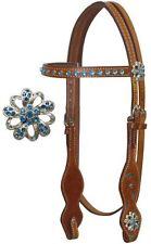 BLING! BLUE RHINESTONES & CRYSTALS WESTERN HORSE BRIDLE WITH REINS MEDIUM BROWN