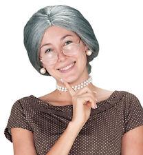 Vecchia signora Donna Chignon Santa Signora Claus Costume Nonna Grigio Parrucca e occhiali