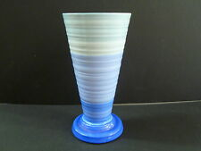 1930S ART DECO SHELLEY HARMONY VASE MADE IN ENGLAND / DOUBLE BLUE COLOURWAY