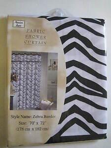 Popular Bath Crisp Black White ZEBRA Safari Animal Print Fabric Shower Curtain