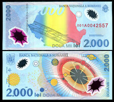 ROMANIA 2000 2,000 LEI 1999 P 111 UNC POLYMER WITH FOLDER