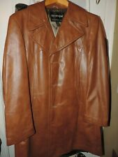 Vtg 70s Mens Leather Jacket brown covercoat 42 Medium Large Jack Dalton