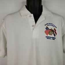 Vintage 90s Marine Security Guard American Embassy Yemen White Polo Shirt M