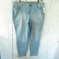 New H By Halston Jeans 22W Light Skinny Ankle Crop Stud Details Plus Size QVC