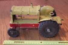 Pressed Steel Tractor toy Vintage with Tonka wheels yellow red FOR PARTS