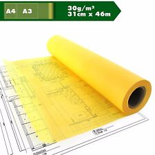 Skizzenpapier Skizzenrolle gelb Tracing Transparent A3 A4 30g/m² ca.31cm x 46m