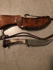 Custom Stag Antler Handle Fixed Blade Knife & Custom Leather Sheath Clint Woods