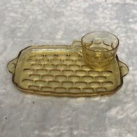 Vintage Amber Depression Glass Serving Tray & Coffee Cup
