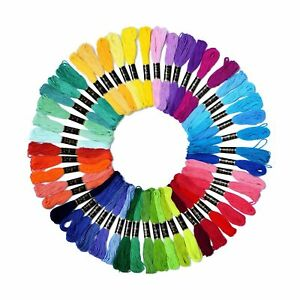 Embroidery Floss Rainbow Color 50 Skeins Per Pack Cross Stitch Threads Friend...