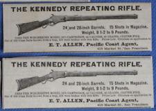 RARE 1881 Whitney Kennedy Repeating Rifle Gun Newspaper Ads