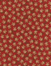 Fabric Gingerbread Men Tossed on Red Flannel 1 Yard S