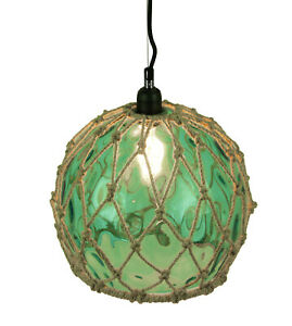 Scratch & Dent Green Glass Rope Wrapped Pendant Light Coastal Ceiling Lamp