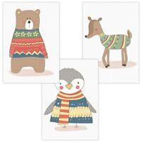 3er Set Wandbilder Baby Kinderzimmer Poster Wandposter A4 W04 Bär Pinguin Reh