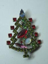 Christbaum Strass Brosche Weihnachtsbaum Christmas tree Brooch Gablonz Nr.54