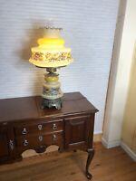 "Vintage Quoizel Abigail Adams Blue Poppy 3 Way Hurricane Parlor Lamp 21"" 1973"