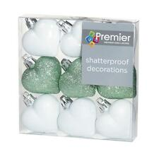 Christmas Tree Decoration 9 Pack 40mm Shatterproof Heart Baubles - Green/White