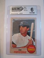 1968 JOE PEPITONE #195 BASEBALL CARD GEM GRADED 6 EX/NM - TUB BBA-10