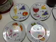 "Rosanna Wine and Cheese Salad Plates 8"" New"