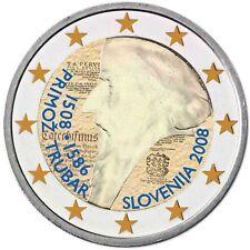 Slowenien 2 Euro 2008 Primož Trubar Gedenkmünze Primus Truber in Farbe