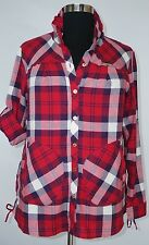 APPLE BOTTOMS RED PLAID LONG ROLL UP SLEEVE BUTTON DOWN SHIRT JACKET PLUS Sz 1X
