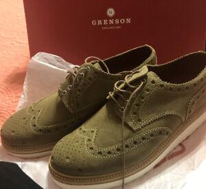 MSRP $380, Grenson Archie V Wedge Wing Tip Cigar Suede Shoes, Size 9US  (8 UK)