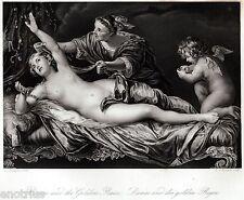 Danae e la Pioggia d'oro di Zeus. Perseo.Mitologia. Acciaio.Steel Engraving.1850