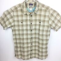 Patagonia Mens Hemp Organic Cotton Blend Tan Short Sleeve Button Up Shirt Large