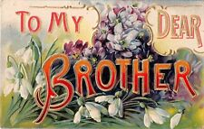 To My Dear Brother With Lovely Violets & Snowdrops on 1909 Postcard