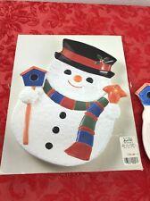 "VINTAGE JAPAN CHRISTMAS VILLAGE SNOWMAN CANDY DISH PLATE  PLATTER 12"" x 10"""