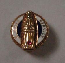 VINTAGE 10K YELLOW GOLD ENAMELED 5 YEARS OF SERVICE COCACOLA PIN WITH A RUBY