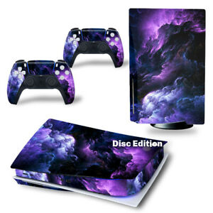 For PS5 Disc Edition Console & 2 Controller Rolling Cloud Vinyl Wrap Skin Decal