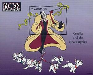 DISNEY = GAMBIA / 101 DALMATIANS S/S MNH DOGS, SMOKING