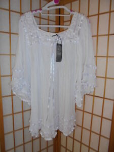 NEW ❤GLORIA VIDAL❤ WHITE MEXICAN 'ANGEL' TOP WITH RIBBON ACCENTS OSFM~RARE FIND