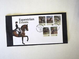 2014 AUST EQUESTRIAN EVENTS SHOW JUMPING DRESSAGE  FDC PEEL N STICK SET 5 STAMPS
