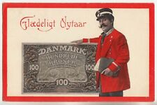 DENMARK 100 KROONER 1910 Advertising POSTCARD Postman with the BANKNOTE w STAMPS