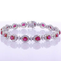 9.95CT Diamond and Ruby Bracelet 18K White Gold