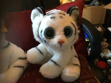 """LARGE 12"""" PAWS WHITE SNOW TIGER WITH BLUE SPARKLY EYES SOFT TOY PLUSH NEW TAGS"""