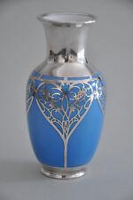 Porzellanvase mit Silveroverlay - Silberoverlay um 1900 - Jugendstil