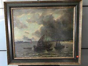 Josef Mooren    Fischerboote   60 x 70   Öl auf Leinwand