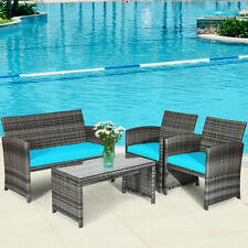 Topbuy 4 PCS Patio Rattan Wicker Sofa Furniture Set W/Cushions Turquoise