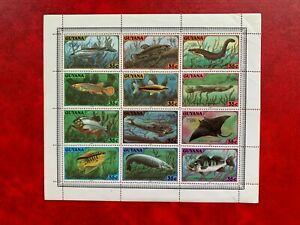 GUYANA 1980 MNH MINISHEET FISH ELECTRIC EEL SNOEK DEVIL RAY HASSAR LONDON 80
