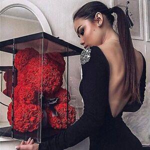 Oso De Peluche De Flores Artificiales Para Mujeres Caja De Regalo De Cumpleaños