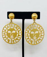 Large Sun Face Earrings Gold Tone Dangling Clip-on
