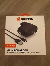 Genuine Griffin 2.4Amp Mains Charger, USB-A to Micro-USB Cable GP-011-BLK