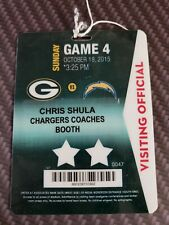 NFL GREEN BAY PACKERS COACHES ACCESS PASS vs CHARGERS CHRIS SHULA