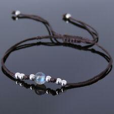 Men's Women Bracelet Braided 5A Rare Labradorite Sterling Silver Beads DIY-K 822