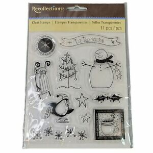 Christmas Snowman & Penguin Clear Acrylic Stamp Set by Recollections 119956 NEW!